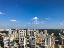 Panoramic view from a great height on the beautiful capital, a city with many roads and high-rise buildings. stock photos