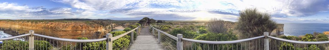Panoramic view of Great Ocean Road viewpoint, Australia Stock Images