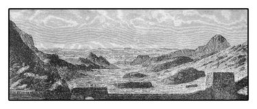 Panoramic view from the Great Wall of China, XIX century engravi. Vintage engraving of the wide panorama from the Great Wall of China built across the historical Stock Images