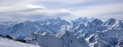 Panoramic view on Greater Caucasus from Elbrus Royalty Free Stock Photos