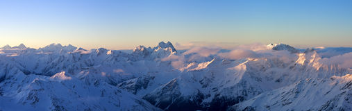 Panoramic view of Greater Caucasus in sunrise stock photo