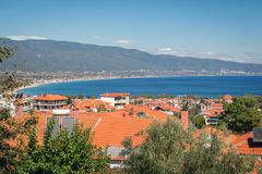 Panoramic view of Greece resort Stavros Royalty Free Stock Images