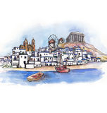The panoramic view of Greece   watercolor Stock Images