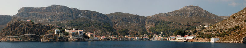 Panoramic view of the Greek island of Kastelorizo. Panoramic view approaching Greek island of Kastelorizo in Greece Stock Photography