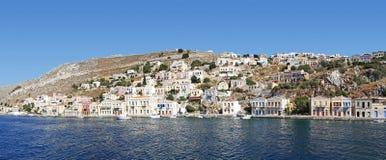 Greek Island Symi. A panoramic view of Greek Island Symi royalty free stock images