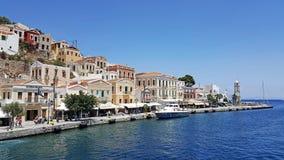 Greek Island Symi. A panoramic view of Greek Island Symi stock photo