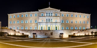 Panoramic view of the Greek Parliament building at night, Athens Royalty Free Stock Images
