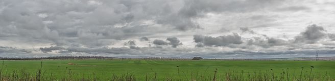 Panoramic view of the green wheat field and dark storm clouds with rain. Landscape  green meadow. Panoramic view of the green wheat field and dark storm clouds Stock Photos