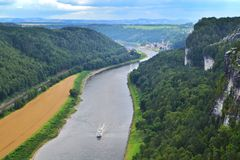 Panoramic view of greenery of Saxon Switzerland from the top of Bastei Park. stock photo
