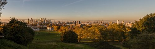 Panoramic View from Greenwich Observatory stock images