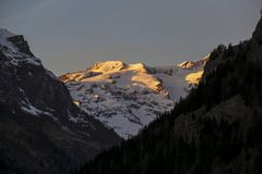 Panoramic view of the Gressoney valley at sunset in winter royalty free stock photography
