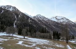 Panoramic view of the Gressoney valley at sunset in winter stock photography
