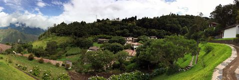FAIRY TALE GETAWAY, PANORAMIC VIEW 2. Panoramic view of the grounds at Luna RunTun boutique hotel has spectacular, fairy tale like views of old Spanish Royalty Free Stock Image