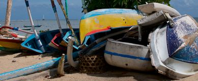 Group of wooden boats on the beach royalty free stock photos