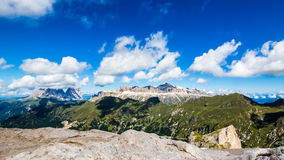 Panoramic view of the groups of Sella and Langkofel, massifs in Royalty Free Stock Photography