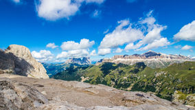 Panoramic view of the groups of Sella and Langkofel, massifs in Royalty Free Stock Photos