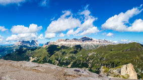 Panoramic view of the groups of Sella and Langkofel, massifs in Royalty Free Stock Images