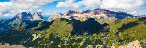 Panoramic view of the groups of Sella and Langkofel, massifs in Stock Photo