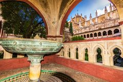 Cloister of the Monastery of Guadalupe, in Caceres royalty free stock image