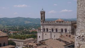 Panoramic view of Gubbio and the surrounding hills, Umbria, Italy.  stock footage