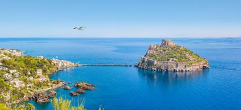 Panoramic view of Ischia Island and Aragonese Castle, Italy stock image