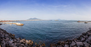 Panoramic view of Gulf of Napoli and Mount Vesuvius in Naples ci Royalty Free Stock Image
