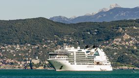 Panoramic view of the Gulf of poets with cruise ship and the Castle of Lerici in the background, Liguria, Italy royalty free stock photography