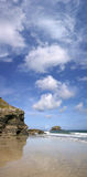Panoramic view of Gull Rock, Portreath, Cornwall. Stock Photo