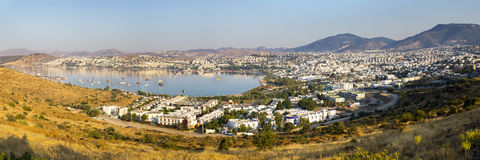 Panoramic view of Gumbet bay in Bodrum on Turkish Riviera Stock Image