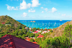 Panoramic view of Gustavia harbour seen from Corossol, hill, St Barth, sailboats Stock Images