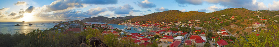 Panoramic view of Gustavia harbour seen from Fort Karl hill, St Barth, sailboats Stock Photography