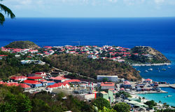 Panoramic view of Gustavia harbour seen from the hills, St Barth, sailboats, pier Royalty Free Stock Photo