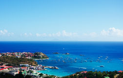 Panoramic view of Gustavia harbour seen from the hills, St Barth, sailboats, pier Royalty Free Stock Photography