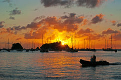 Panoramic view of Gustavia harbour at sunset, St Barth, sailboats Stock Photography
