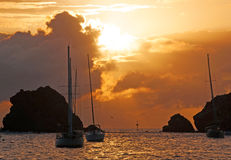 Panoramic view of Gustavia harbour at sunset, St Barth, sailboats Stock Photos