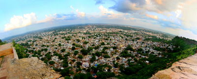 PANORAMIC VIEW OF GWALIOR CITY, MADHYA PRADESH, INDIA. Gwalior city landscape from Gwalior Fort, Madhya Pradesh, India. Gwalior is the city of true royals, the Stock Photo