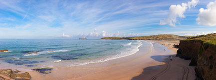 Panoramic View of Gwithian Beach Royalty Free Stock Photography