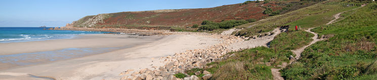 Panoramic view of Gwynver beach in Cornwall. Royalty Free Stock Photo