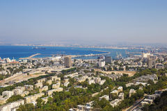 Panoramic view of the Haifa and sea port Stock Photos