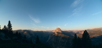 Panoramic view on Half Dome peak in sunset light from Glacier Po Stock Photo