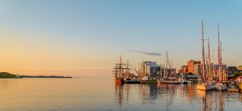 Panoramic view of Halifax in the Early Morning. During the Nova Scotia Tall Ship Festival 2017 Royalty Free Stock Image