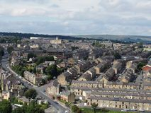 Panoramic view of Halifax in west yorkshire with rows of terraced streets buildings roads and surrounding countryside. Panoramic view of Halifax in west stock photos
