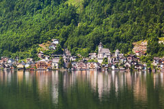 Panoramic view of Hallstatt from lake Hallstater See,  Austria Royalty Free Stock Image