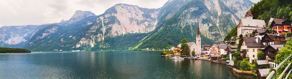 Panoramic view of Hallstatt from lake Hallstater See, Austria Royalty Free Stock Images