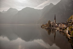 Panoramic view of Hallstatt lake and town, Salzkammergut, Austria Royalty Free Stock Images