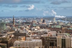 Panoramic view hamburg. Panoramic view of Hamburg Germany befor a snow storm Royalty Free Stock Images