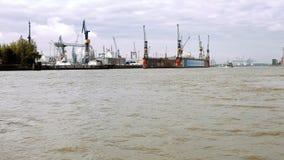 Panoramic view Hamburg port Stock Images