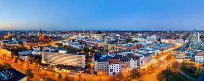 Panoramic view of Hannover, Germany. During sunset Stock Images