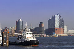 Panoramic view of Harbor City Hamburg Stock Photography