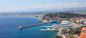 Panoramic view of harbor of the city of Nice. royalty free stock image